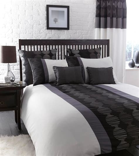 grey white black bedroom black white pewter grey striped bed linen duvet cover