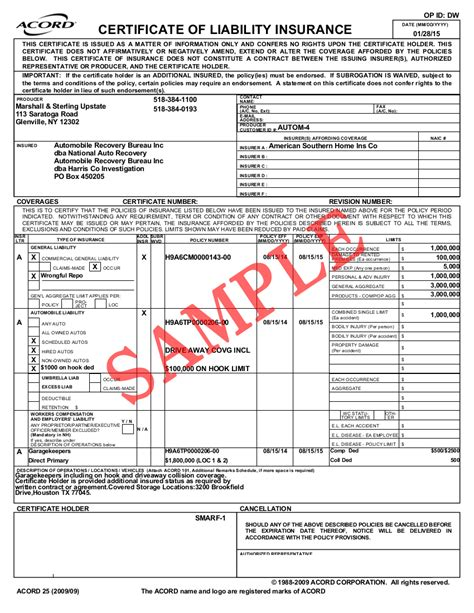 homeowners evidence of insurance acord form 12 best photos of homeowners insurance binder form