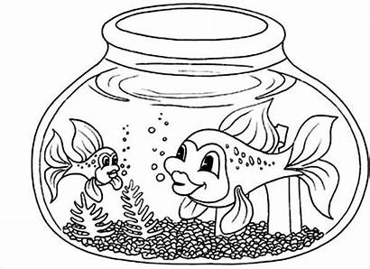 Fish Coloring Bowl Pages Printable Tail Colouring