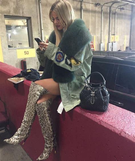 get fans on instagram jacket boots khloe kardashian kardashians fur