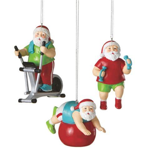 santa shapin up fitness christmas ornaments set of 3