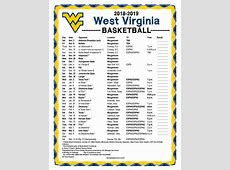 Printable 20182019 West Virginia Mountaineers Basketball
