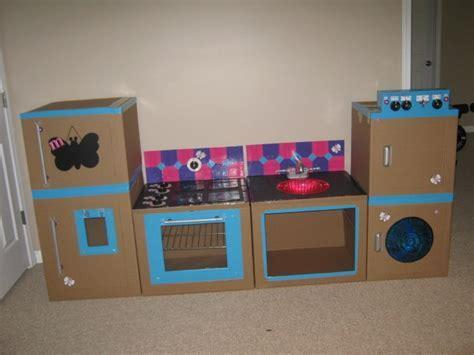Cardboard box & Duct Tape kitchen/washer & dryer   DIY