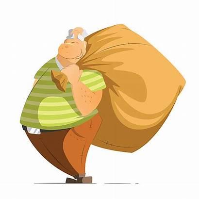 Bag Holding Money Sack Vector Oldman Rich