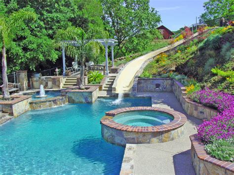 Water Slide And Fountain, Swimming Pool And Retaining