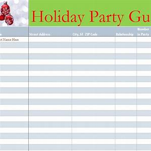 Event Sign Up Sheet Template Holiday Party Guest List My Excel Templates