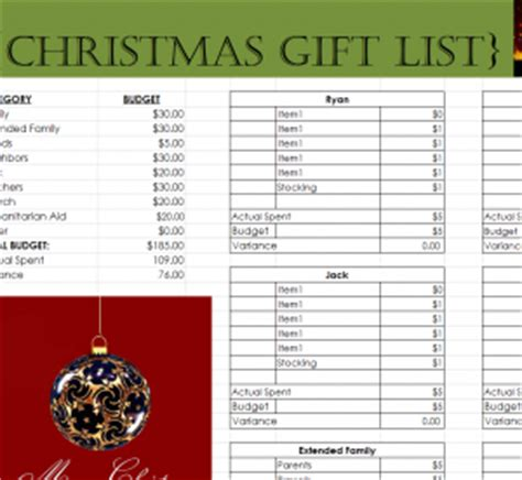 comprehensive christmas gift list  excel templates