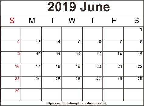 Blank Calendar 2019 June