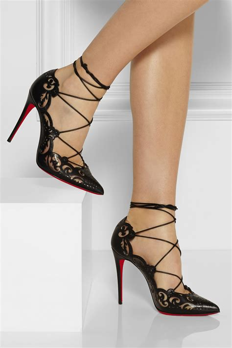 lyst christian louboutin impera lasercut leather  pvc