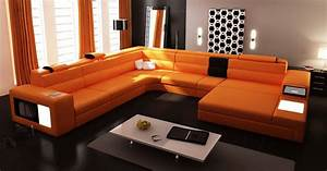 Extra large contemporary sectional sofa in copper with end for Sectional sofa end tables