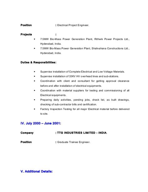 Electrical Estimator Resumes by Cv Electrical Estimation Engineer