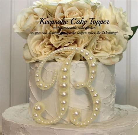 pearl keepsake monogram wedding cake topper decorated  pearls   letter