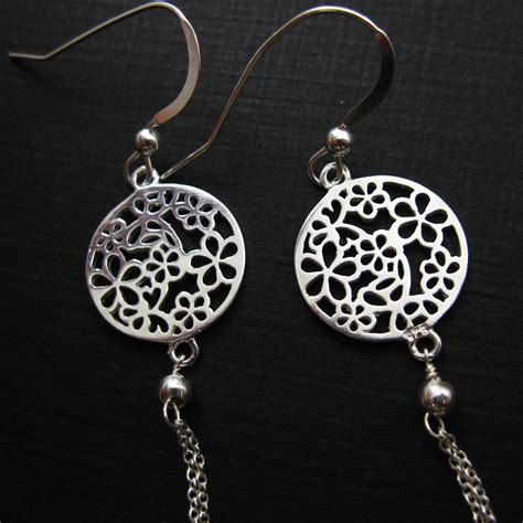 sterling silver jewelry set  flower connector