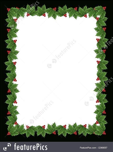 christmas holly border design black frame stock