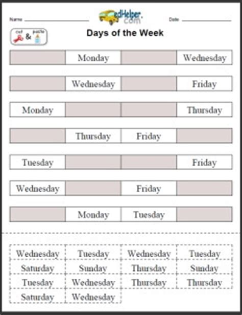 days of the week activities worksheets printables and 832 | dayscomenextprevimg3
