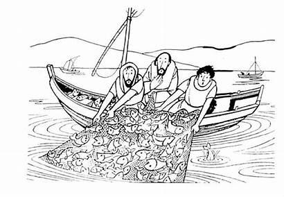 Coloring Fishing Jesus Bible Fish Children Side