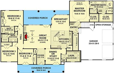 one level house plans with basement four bedroom split bedroom house plan 51063mm
