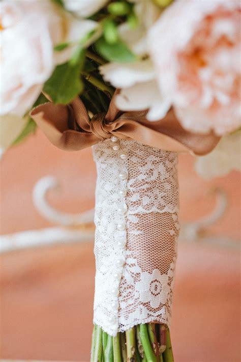 rustic modern lace and pearl wrap on bouquet elizabeth designs