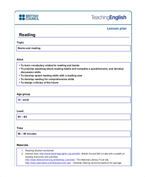 British Council Lesson Plan Template Blank by 49 Exles Of Lesson Plans