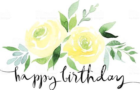 watercolor design  yellow roses  happy birthday