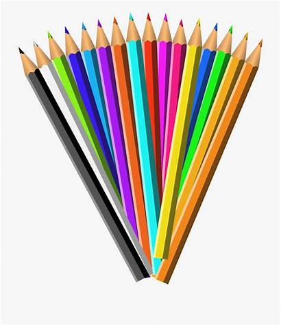 Pencil Clip Colored Clipart Pencils Colouring Cup