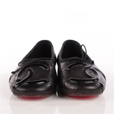foto de CHANEL Lambskin Quilted Cambon Ballerina Flats 37 5 Black