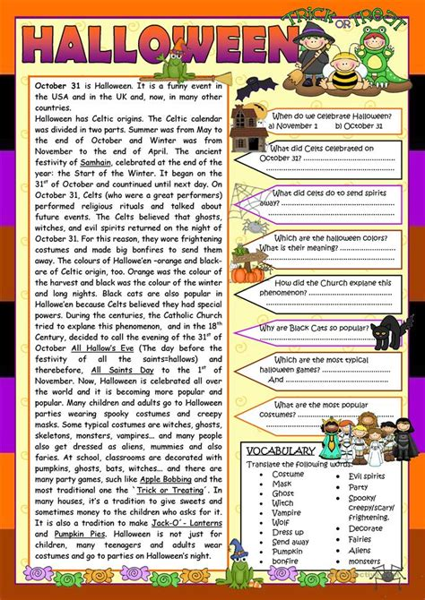 Hallowe'en (reading) (worksheet 1) Worksheet  Free Esl Printable Worksheets Made By Teachers