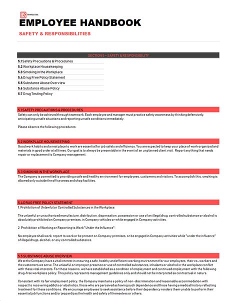 employee handbook template sample word