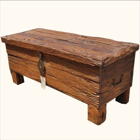 wooden chest trunk coffee table rustic railway road ties reclaimed wood coffee table