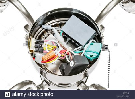 wiring of a ceiling fan light fixture stock photo