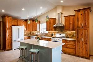Home, Remodeling, Natural, Hickory, Kitchen, Remodel, With, A, Retro, Accent
