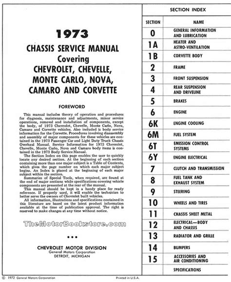 service repair manual free download 1973 chevrolet camaro parking system 1973 chevrolet service manual nova corvette more st 329 73