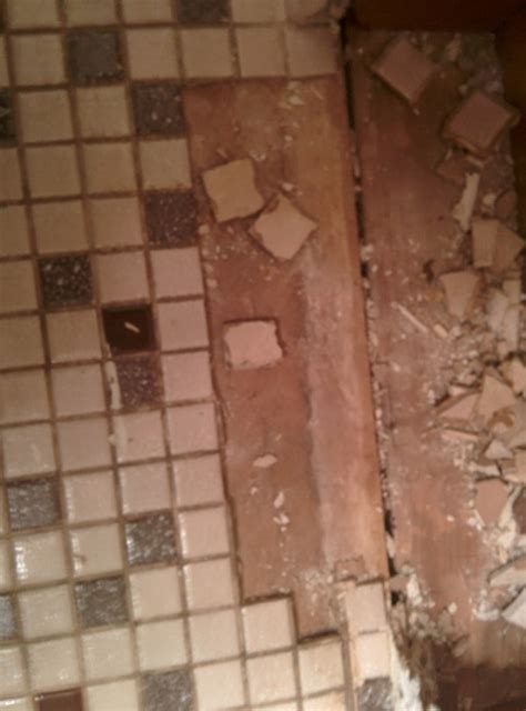 bathroom floor demo mastic  tile tiling