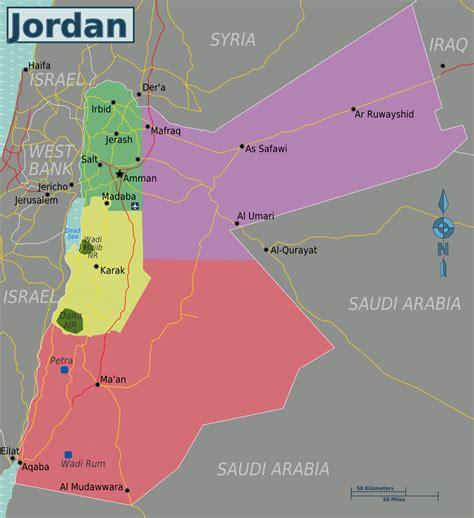 Landkarte Jordanien Regionen Karten Und Stadtpläne Der Welt