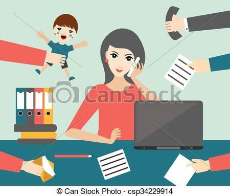 commis bureau clip vecteur de plat occupé bureau commis femme