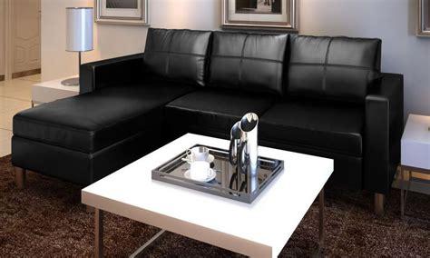 Divano Angolare Roma Con Pouf 205 Cm Ecopelle Bianco Nero
