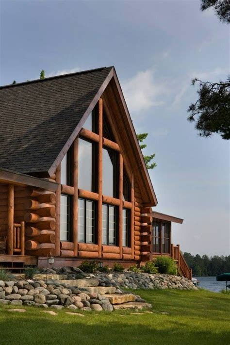 nice big open front windows log homes house   woods log cabin homes