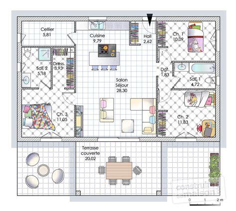 plan maison plain pied 1 chambre maison de plain pied en corse dé du plan de maison