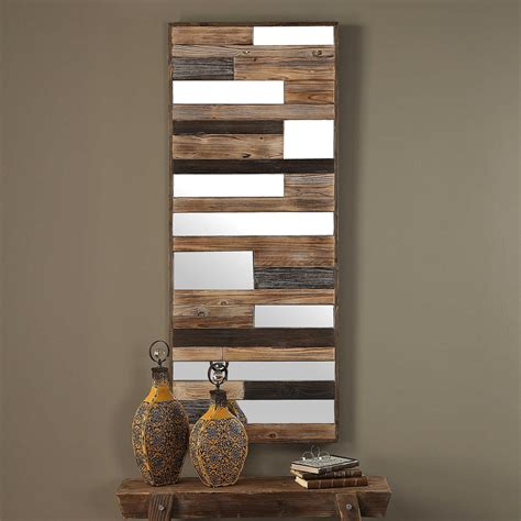 There are many reasons to add a slatted wood wall to your home. Kaine Wall Mirror Rustic Wooden Mirror Plank Mirror Slats | Etsy in 2020 | Wood wall decor ...