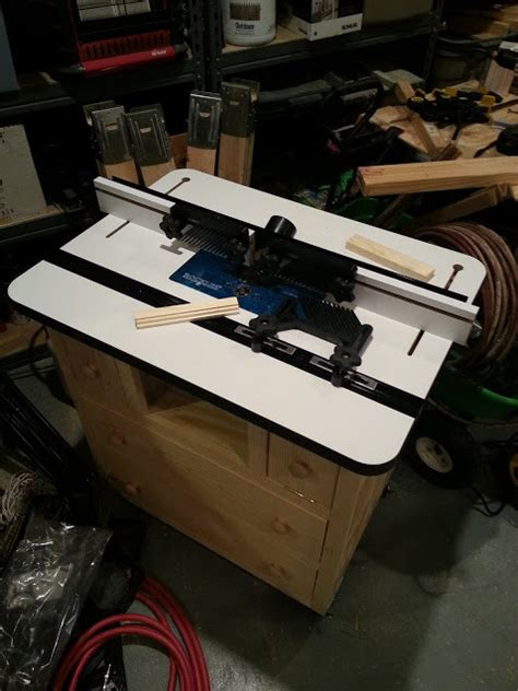 ana white router table  rockler table fence  lift