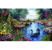 Black Swans Trees River Flowers Painting Hd Wallpaper
