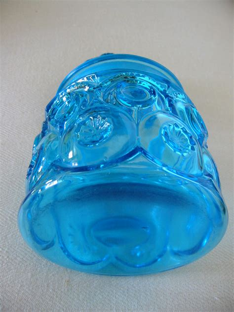 l e smith blue glass apothecary lidded jars moon stars for