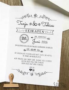 Geschenk Zum Standesamt : einladungskarten stempel hochzeitseinladung vintage ein designerst ck von derkleinesperling ~ Eleganceandgraceweddings.com Haus und Dekorationen
