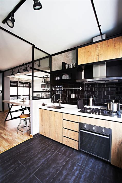 This Industrial Hdb Flat Is Edgy Yet Cosy  Singapore. Kichen Colour. Grey And Yellow Kitchen Accessories. Kitchen Tea Cupcakes. Diy Kitchen Organizing Solutions