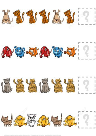 complete  puzzle worksheet  dogs  cats  printable puzzle games