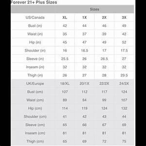 Oshkosh Size Chart Forever 21 Other Plus Size Chart Poshmark
