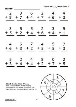 addition facts   worksheets full color addition game