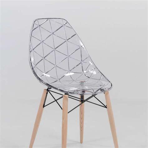 chaise designe chaise design coque transparente et bois prisma 4