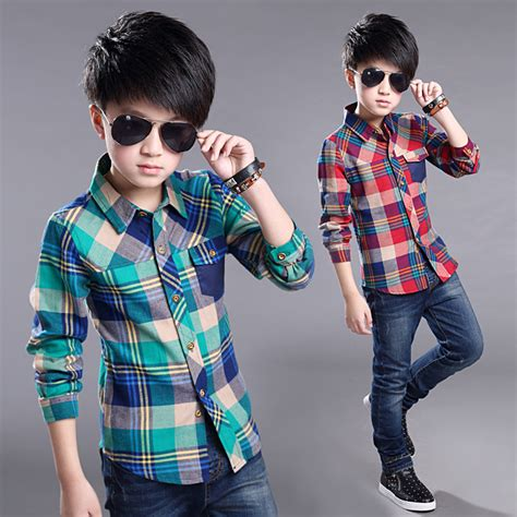 Teenage Clothes for Boys Long Sleeve Red Green Plaid Shirts School Style Childrenu0026#39;s Boy 4 10 12 ...