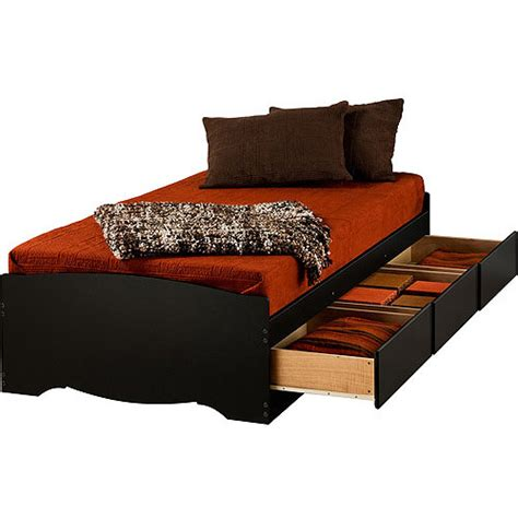 brisbane twin xl 3 drawer platform storage bed black
